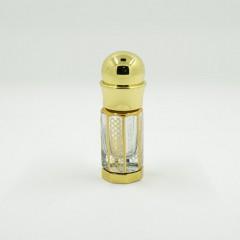 Флакон металлический для масляных духов со стеклянной палочкой и принтом Золото 3 мл