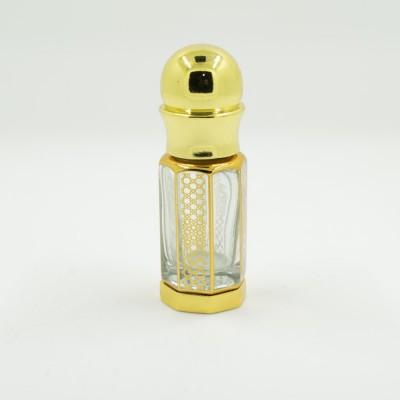 Флакон металлический для масляных духов со стеклянной палочкой и принтом Золото 6 мл