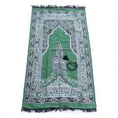 Коврик для молитвы подарочный набор колба Sajda 70 х 115 Зеленый