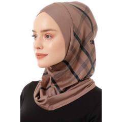 Хиджаб Балаклава с нахлёстом Ecardin Model 10 Светло коричневый
