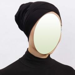 Боне (шапочка под хиджаб) с нахлёстом Ecardin Capraz Bone Чёрный