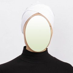 Боне (шапочка под хиджаб) с нахлёстом Ecardin Capraz Bone Белый