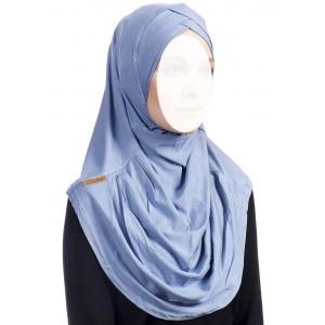 Хиджаб цельный с нахлестом Ecardin Capraz Turban Голубой