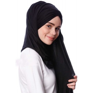 Палантин хиджаб с завязками Pile Şal Ecardin Чёрный