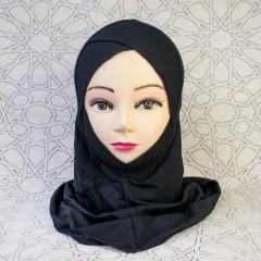 Подхиджабник с нахлёстом и подбородком Mercan Capraz Ninja Hijab Чёрный