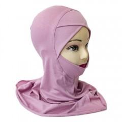 Подхиджабник с нахлёстом и подбородком Mercan Capraz Ninja Hijab Розовый