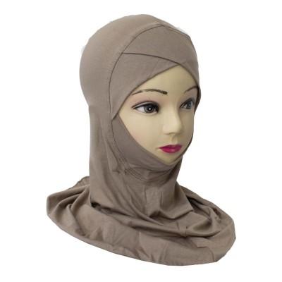 Подхиджабник с нахлёстом и подбородком Mercan Capraz Ninja Hijab Капучино