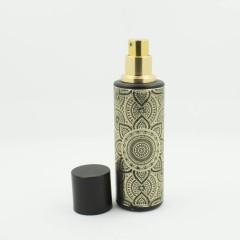 Флакон для спрей парфюмерии с золотистым принтом 30 мл Черный