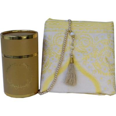 Коврик для молитвы подарочный набор колба Sajda 70 х 115 Золотой