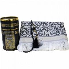 Коврик для молитвы подарочный набор колба Sajda 70 х 115 Кааба Черный