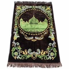 Коврик для намаза Силуэт Мечети Sajda 68x120 Коричневый с зеленым