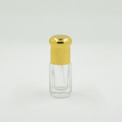 Флакон Стеклянный для масляных духов Стандарт с палочкой и золотистой крышечкой 3 мл