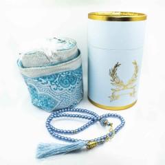 Коврик для молитвы подарочный набор колба Sajda 70 х 115 Голубой 051020