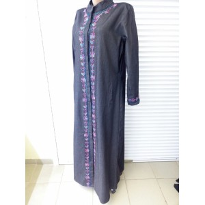 Front open denim embroidered abaya