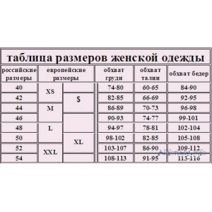 Таблица размеров одежды