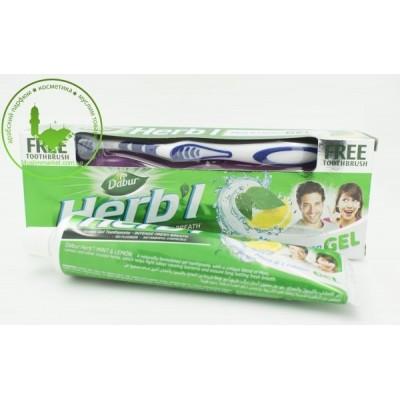Зубная паста-гель Dabur Мята и Лимон 150г с щеткой